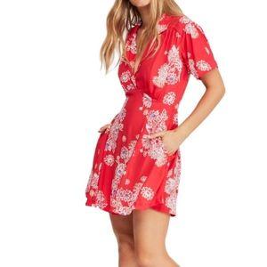 Free People Hawaii Floral Short Sleeve Mini Dress